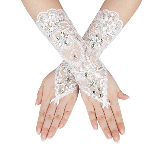 - Gorse Lace Gloves Hand Drill Fingerless Gloves Prom Party Driving Wedding Mother's Day JL