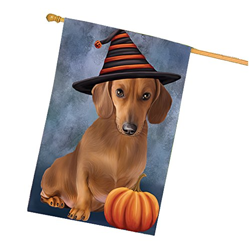 Happy Halloween Dachshund Dog Wearing Witch Hat with Pumpkin House Flag]()
