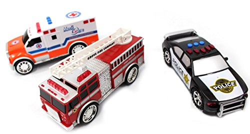 Fire Truck, Police Car and Ambulance Toy Car Set for Kids (Police Ambulance)