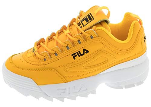 Fila Women's Disruptor II Premium Sneakers, Gold Fusion/Black/White, 8.5 M US