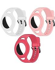 Coholl 3 stuks siliconen airtag armband voor Apple AirTag,rugzakken, voor kinderen of volwassenen, armband voor GPS-tracker, lichtgevend groen/roze/donkerrood