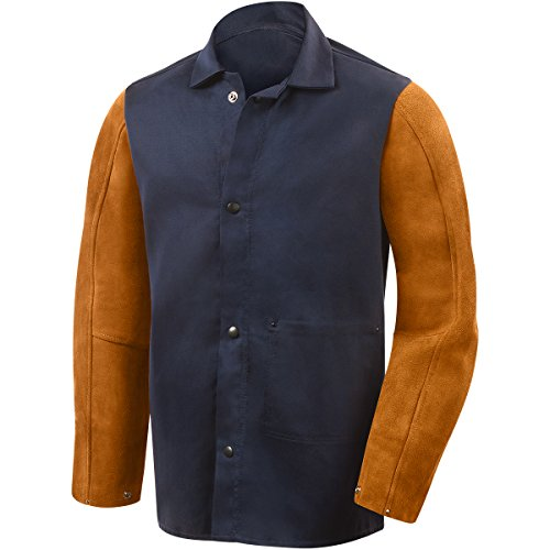 Steiner 1260-L 30-Inch Jacket, Weldlite Plus Navy Cotton, Rust Cowhide Sleeves, Large