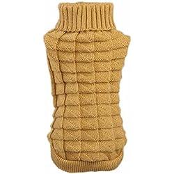 Mikey Store Pet Dog Woolen Sweater Knitwear Puppy Clothing Warm High Collar Coat (KI, XS)