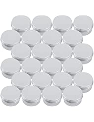 Tosnail 1 oz. Aluminum Round Lip Balm Tin Container Bottle with Screw Thread Lid - Pack of 24
