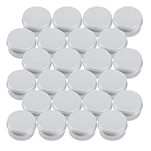 Tosnail 1 oz. Aluminum Round Lip Balm Tin Container Bottle with Screw Thread Lid – Pack of 24