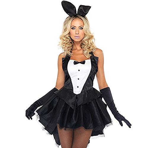 J&B Women's 3 Piece Plus Size Halloween Tux and Tails Bunny Tuxedo Costume-Large -