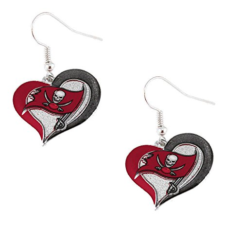 NFL Tampa Bay Buccaneers Swirl Heart Earring Dangle Logo Charm Gift - Tampa Bay Buccaneers Dangle Earrings