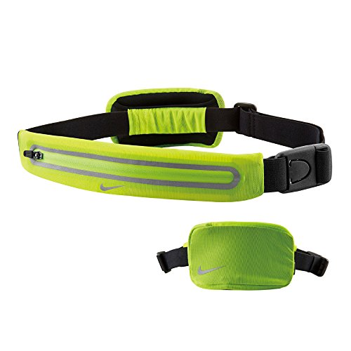 Nike Lean 2 Pocket Waistpack (One Size Fits Most, Volt/Black) Running Storage Pouch Swoosh Logo