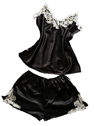 womens-imitation-silk-sexy-cami-shorts-pajama-sets-with-elegant-embrodery-black