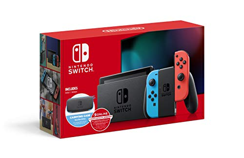 """Switch with Neon Blue and Neon Red Joy-Con - 6.2"""" Touchscreen LCD Display, NVIDIA Custom Tegra Processor, 32GB of Internal Storage - Blue and Red - Carrying Case"""