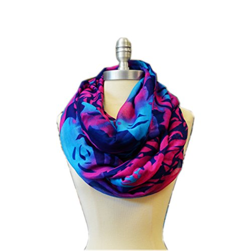 Scarf Floral Pattern - SCARF_TRADINGINC Floral Light Weight X-large Infinity Scarf (Rose pattern Blue)