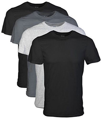 Gildan Men's Crew T-Shirts, Black, XX-Large 4 Pack