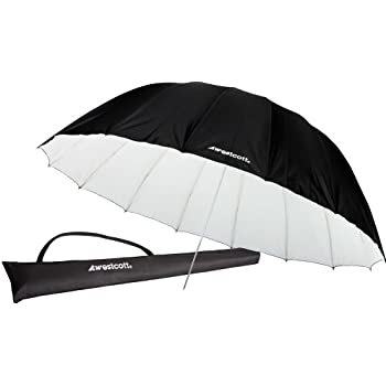 Westcott 4634 7-Feet White with Black Cover Parabolic Umbrella