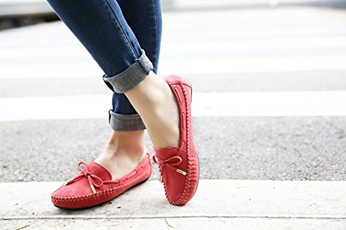 Casual Moccasins Flat Womens Red Driving Shoes Bowknot Meeshine Slip on Loafers 5Z8pn5dx