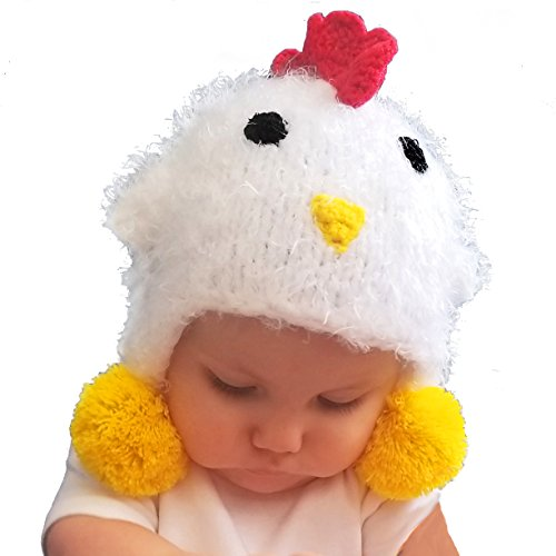 Huggalugs Baby and Toddler Childrens White Chicken Beanie Hat -