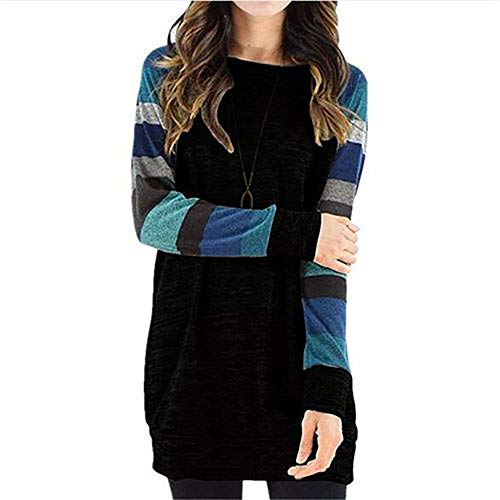Queta Autumn And Winter Striped Color Matching Dress Bottoming Shirt Sweater Printed Long Sleeves Black plus blue 1