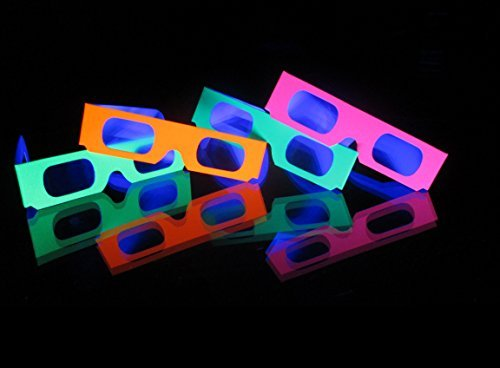 Fireworks Diffraction Glasses - 50 Blacklight-Reflective Neon Frames Plus 1 Exclusive Bonus Pair - See Rainbow Bursts of Spectral Colors Around Points of Light at Parties, Raves, Fireworks