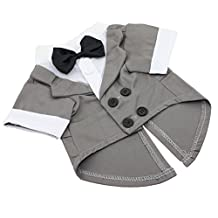 Vedem Small Dog Cat Pet Formal Cotton Tuxedo Costume for Wedding Party (M, Gray)
