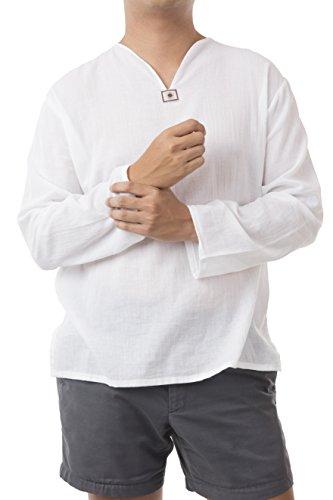 Men Renaissance Medieval White linen T Shirt V Neck Hippie Pirate Beach Kurta Yoga (Medieval Renaissance Clothing)