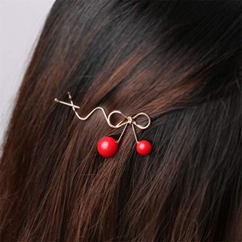 1Pc Sweet Designer Romantic Women Girls Korean Cherry Shaped Bow Hairpin Elegant Twist Hair Clip Headdress Gifts 2pcs Black