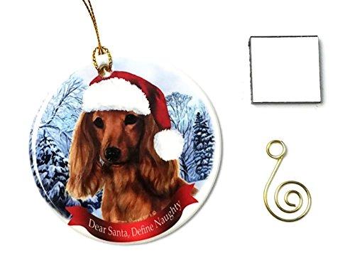 Dachshund Longhair- Red Christmas Ornament 3