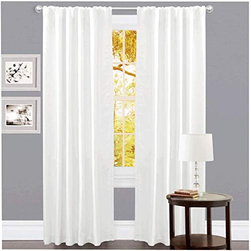 Linen Clubs Set of 2, 100% Slub Cotton Duck Curtain White, Cotton Duck Reverse Tab Top Window Panels - 50x84 inch