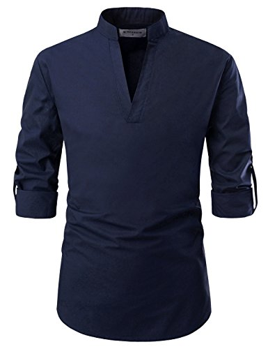 NEARKIN NKNKN382 Mens Classic Fit Roll-up Sleeve Mandarin Collar V Neck Casual Shirts Navy US XXL(Tag Size 2XL)