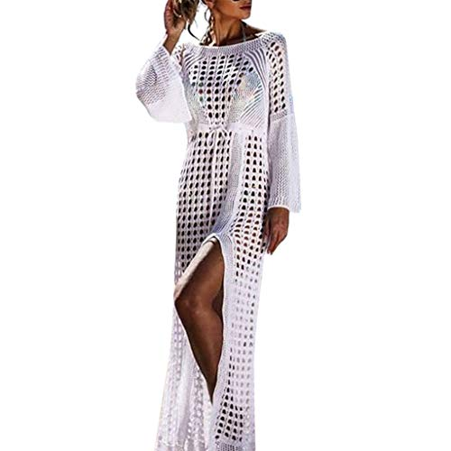 Dresses For Women Sexy Knitwear Long Sleeve Hollow Fashion Backless Split Long Dress 2019 Sale (One Size, White) ()