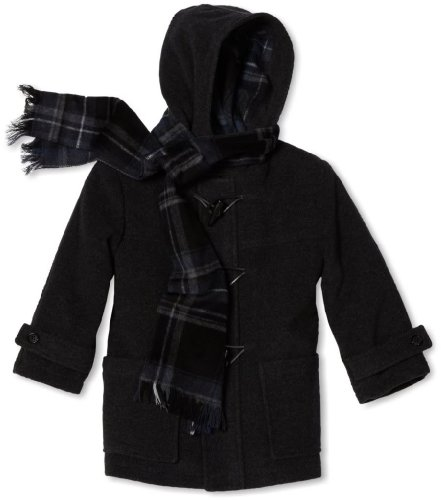 Toggle Wool Look Hooded Winter Coat with Matching Scarf - Charcoal (Size 10) ()