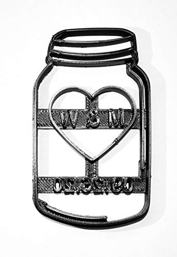 MASON JAR PERSONALIZED WITH HEART INITIALS DATE WEDDING ANNIVERSARY SPECIAL OCCASION COOKIE CUTTER BAKING TOOL 3D PRINTED MADE IN USA - Cookie Personalized Cutters