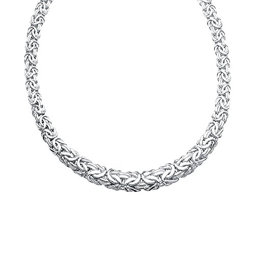Sterling Silver Rhodium Plated Flat Graduated 9mm 14mm Byzantine Chain Necklace - 18 Inch ()