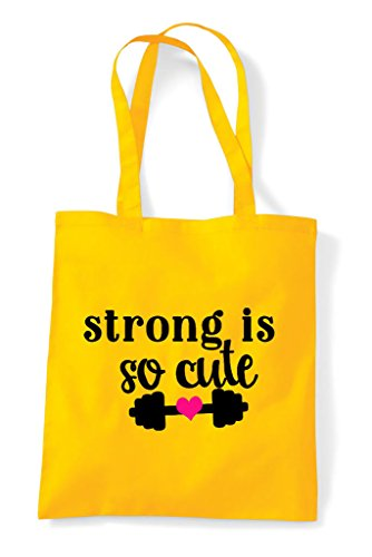 Yellow Cute Strong Is Bag Shopper Workout Gym Statement So Tote qqAzE