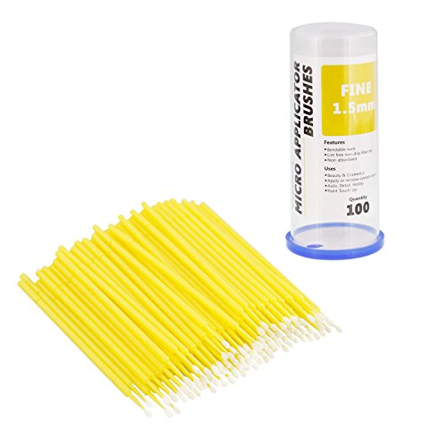 TCP Global 100 Paint Touch Up Brushes, Disposable Micro Brush Applicators, Yellow with Fine 1.5 mm Tips - Auto Body Shop, Auto Car Detailing, Hobby (Paint Detail Auto)