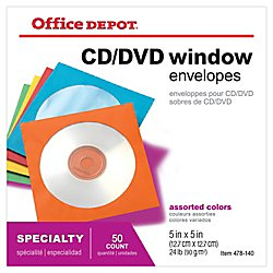 Office Depot(R) Brand Color CD/DVD Envelopes, Assorted Colors, Pack of 50 by Office Depot