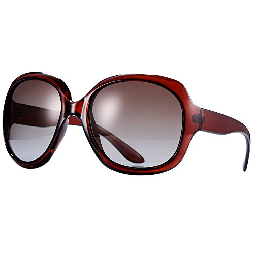 Pro Acme Oversized Polarized Sunglasses for Women | 100% UV Blocking | 5 Colors (Wine - Colour Red Sunglasses