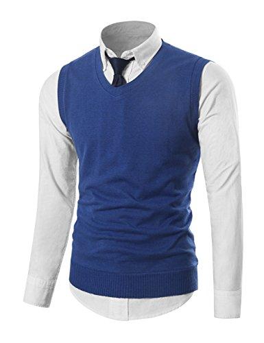 MIEDEON Mens Various Color Casual Slim Fit Knit Vest Sweater (M, (Mens Sweater Vest)
