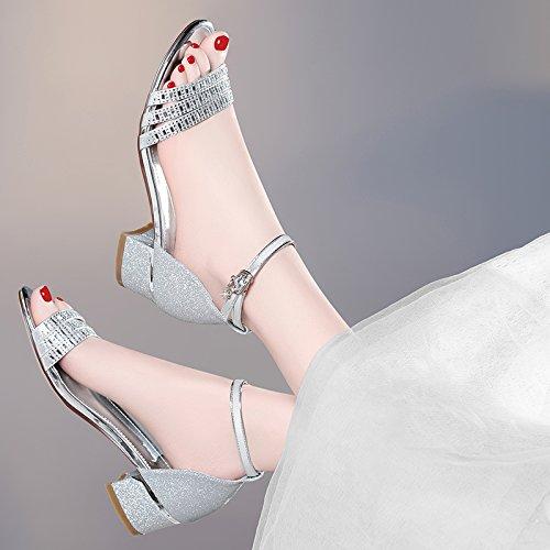 tacón Tacones salvaje Sandalias verano Silver alto dos estudiantes desgaste y zapatillas zapatos nuevo con Jqdyl sandalias 2018 mujeres simples AqR5zdWq7c