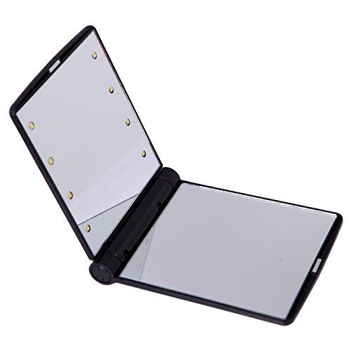 HDE Мини Портативный складной макияж Косметические Складной Путешествия Карманный Компактный Зеркало с 8 яркий светодиод (черный)