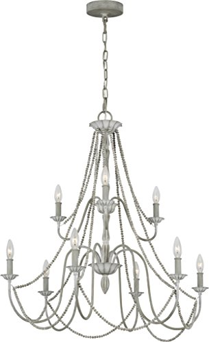 (Feiss F3241/9WGR Transitional Nine Light Chandelier from Maryville Collection in Gray Finish, 9)