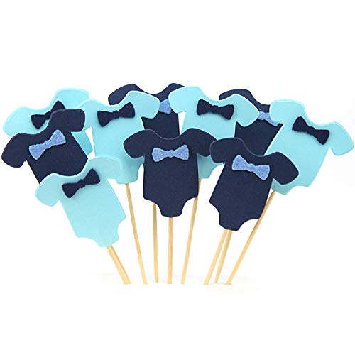 GUCUJI 40 PCS Blue Baby Jumpsuits Baby Shower Cake Cupcake Toppers Picks for Birthday Boys Party Decorations