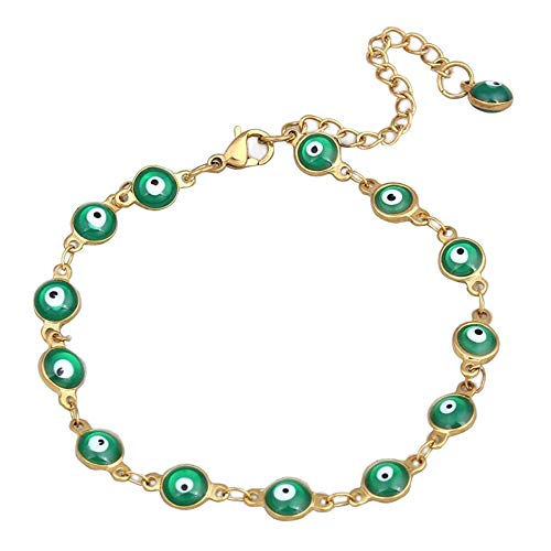 Ameesi Charms Lucky Bracelet Ethnic Turkey Bangle Cuff Evil Eye Enamel Chain Amulet Jewelry Women Lady Green