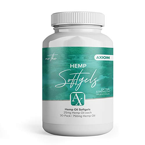 Axiom Hemp Oil Softgel Supplements | Helps Reduce Pain, Anxiety, Stress, Arthritis Inflammation | Premium 25mg Capsules (30 Day