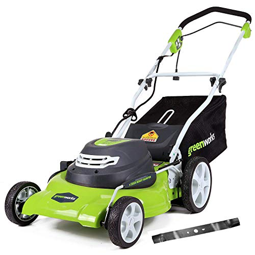 GreenWorks 12 Amp 20-Inch Corded Lawn Mower with Extra Blade25022