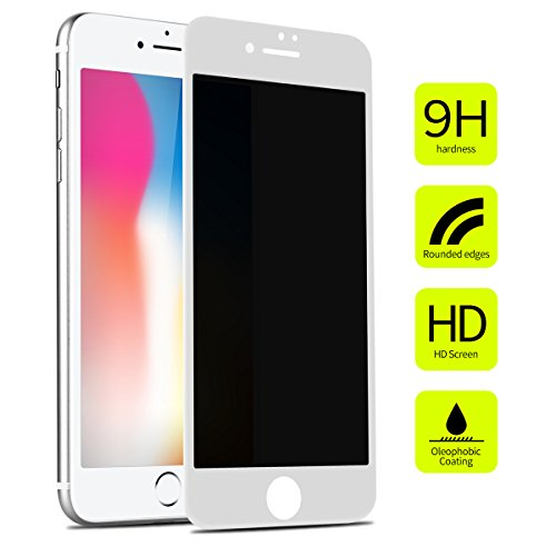 iPhone 8/7 Privacy Screen Protector Tempered Glass Benks Anti-Spy Full Coverage Protective Film with 3D Curved Unbreakable Edge 0.23mm Shatterproof Glass (White Frame for iPhone 8/7, 4.7-Inch)