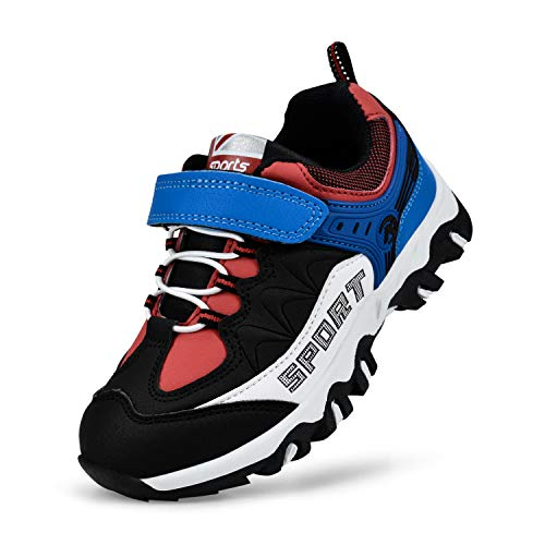 Kostiko Boys Sneakers Breathable Laceless Waterproof Sport Shoes Basketball Hiking Running Shoes for Boys Girls Black Blue Red 8.5 M US Toddler