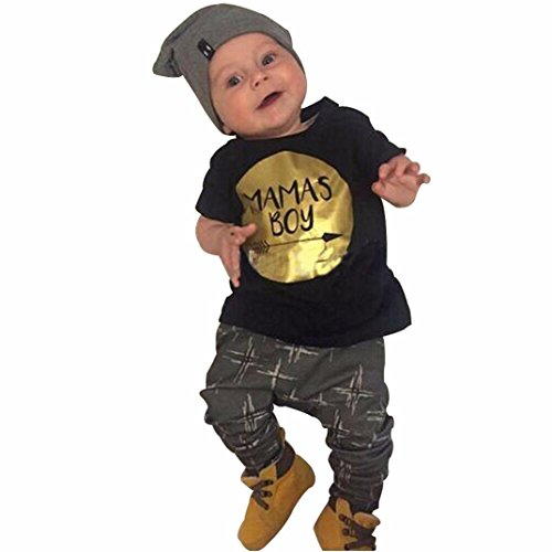 [FEITONG Newborn Toddler Kids Baby Boy Clothes T-shirt Tops+Pants (12 Months)] (Baby Designer Clothes)