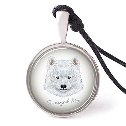 Vietguild's Portrait of Samoyed dog Necklace Pendants Pewter Silver Jewelry - Samoyed Jewelry