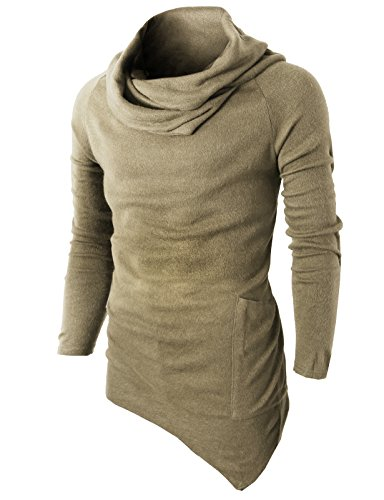 H2H Mens Casual Turtleneck Slim Fit Pullover Sweater Oblique Line Bottom Edge BEIGE US S/Asia M (KMTTL046) by H2H