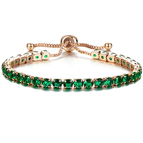 JISTL Fashion Adjustable Chain Bangle Multilayer Rhinestone Crystal Beaded Leather Wristband Natural Stone Luxury Shining Bracelet (Green Gold)