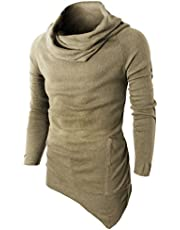 H2H Mens Casual Turtleneck Slim Fit Pullover Sweater Oblique Line Bottom Edge